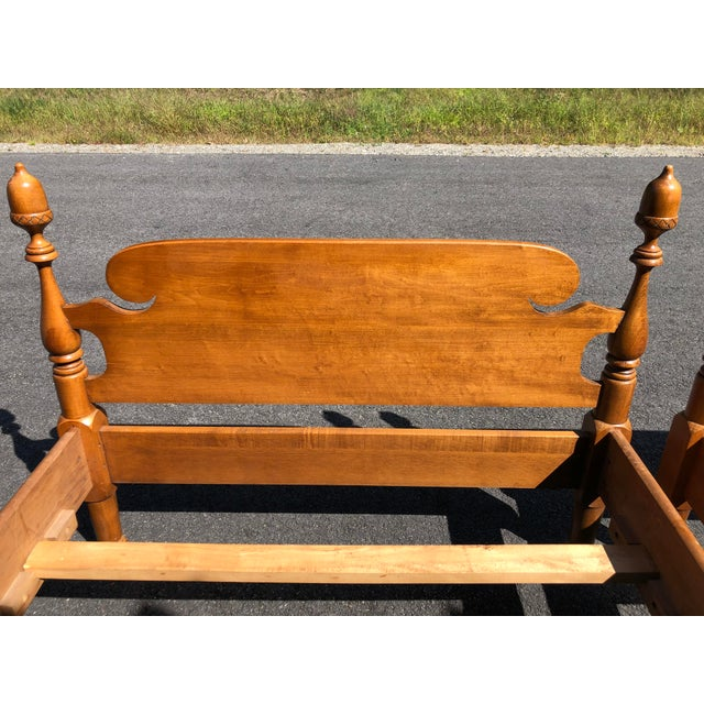 Wood Solid Maple Vintage Acorn Top Twin Beds- a Pair For Sale - Image 7 of 13