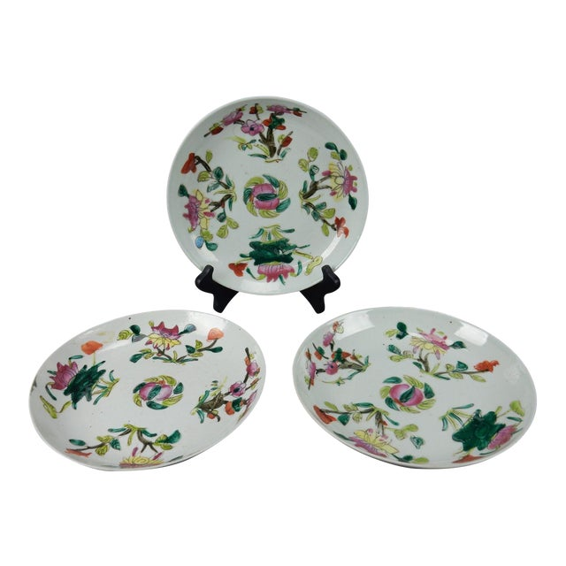 Antique Chinese Qing Dynasty Plates - Set of 3 - Image 1 of 11
