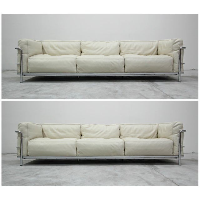 Authentic Pair of Lc3 Cassina Grand Modele 3 Seat Sofas by Le Corbusier For Sale - Image 13 of 13