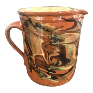19th Century Antique French Country Redware Jaspe Pitcher For Sale