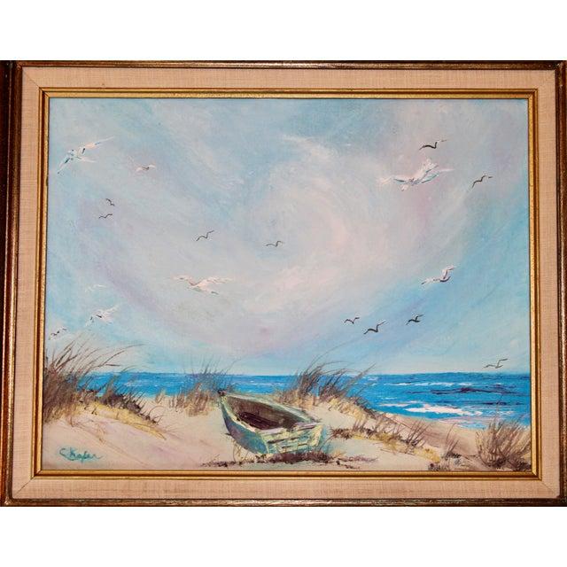 Canvas Vintage Beach Seascape Original Oil Painting For Sale - Image 7 of 13
