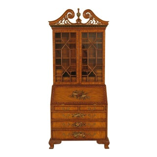 Maitland Smith Satinwood Adam Painted Secretary Desk For Sale