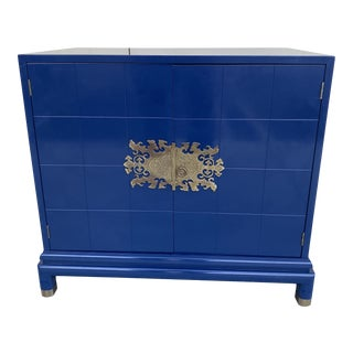 Asian Style Cabinet in Navy Blue Color Lacquer With Ornamental Brass Handle. For Sale