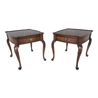 Heckman Furniture Porringer Top Parquet End Tables - a Pair For Sale