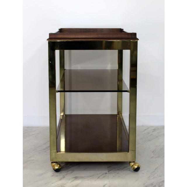 Brass 1960s Vintage Drexel Heritage Brass Wood 2-Tier Bar Cart For Sale - Image 7 of 12