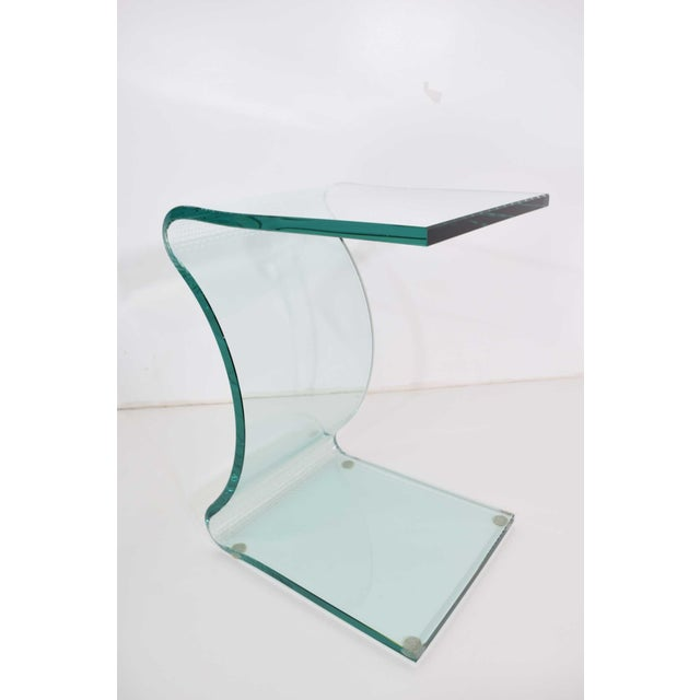 White L. Fife Signed Glass Side Table For Sale - Image 8 of 12