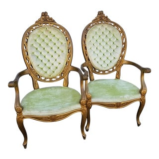 French Louis XV Style Bergère Chairs- a Pair For Sale