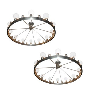 Industrial Round 24-Light Chandeliers - A Pair For Sale
