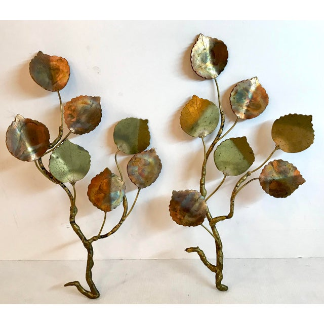 Set of two beautiful gold and copper metal leaf art! Done in the style of Curtis Jere.