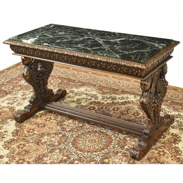 Figurative Antique Renaissance Style Figured Carved Marble-Top Coffee Table For Sale - Image 3 of 7