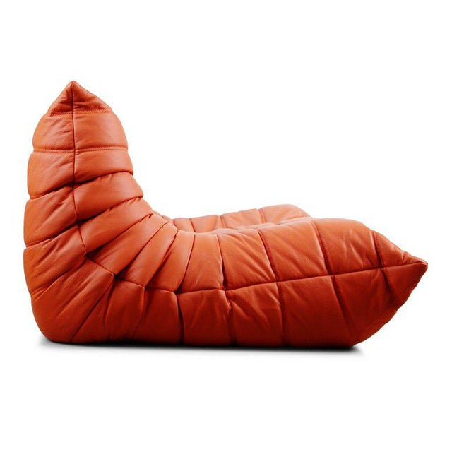 Ligne Roset Togo Loveseat in Orange Leather by Michel Ducaroy for Ligne Roset, France For Sale - Image 4 of 13