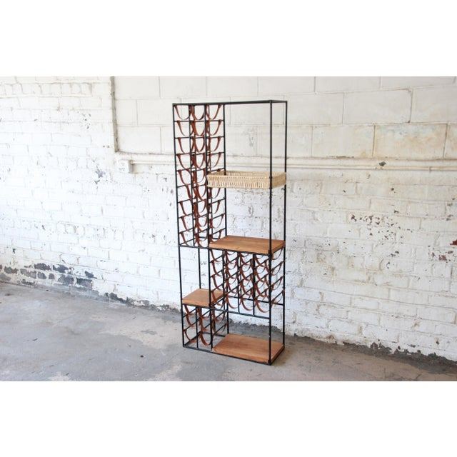 Arthur Umanoff Mid-Century Modern Leather and Iron 40-Bottle Wine Rack, Two Available For Sale In South Bend - Image 6 of 13