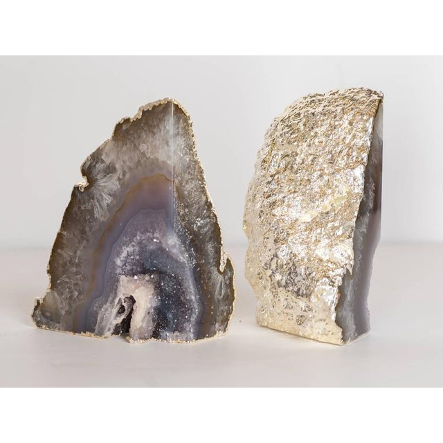Organic Agate and Quartz Crystal Bookends Wrapped in White Gold - Image 6 of 8