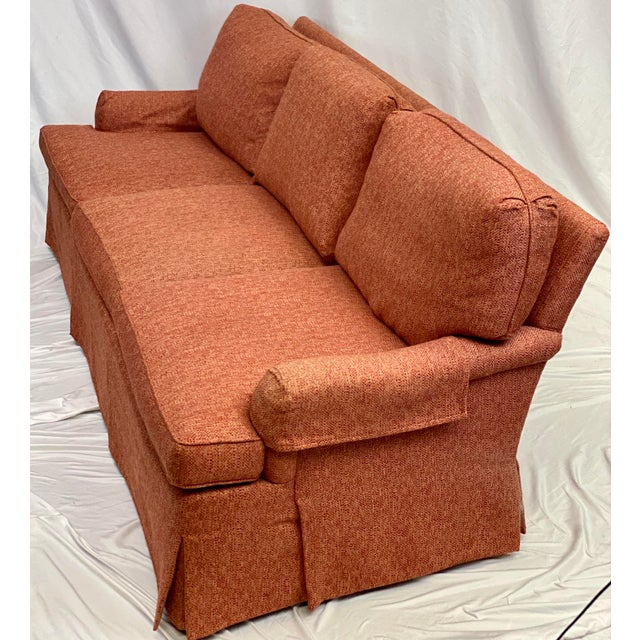 Shabby Chic Hickory Chair Dressmaker Sofa With Red Textured Upholstery For Sale - Image 3 of 7