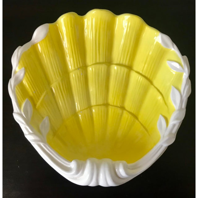 1980s Vintage Fitz & Floyd Yellow & White Seashell Dish For Sale - Image 12 of 12