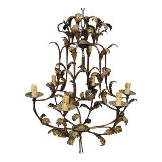 Italian Gilt Bronze Metal SixLight Foliate Chandelier For Sale
