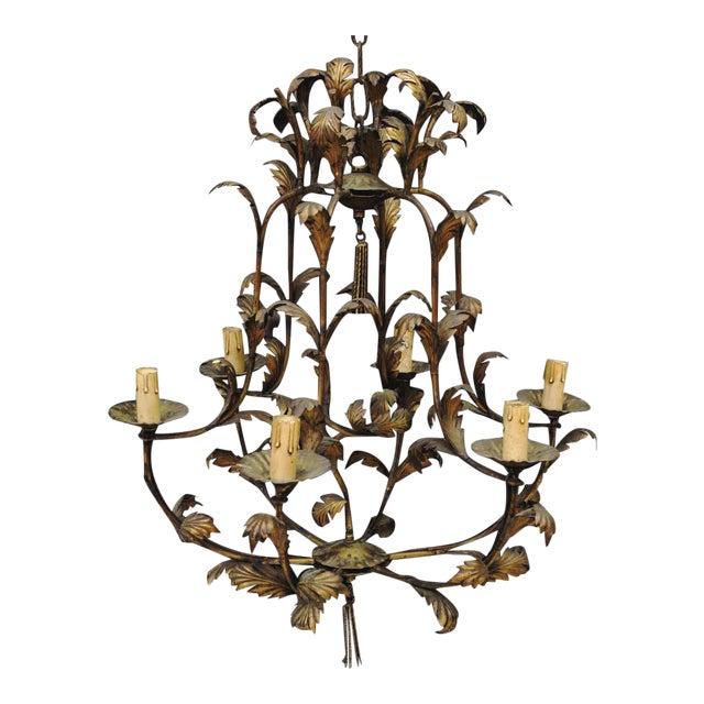 Italian Gilt Bronze Metal SixLight Foliate Chandelier For Sale