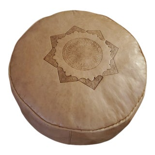 Moroccan Leather Pouf For Sale