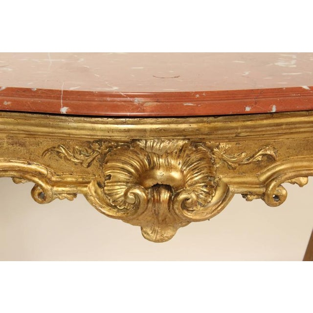 Gold Leaf 18th Century Louis XV Giltwood Console Table For Sale - Image 7 of 11