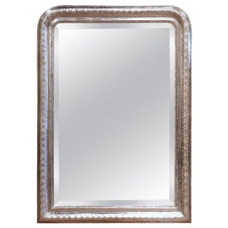 19th Century French Louis Philippe Silver Leaf Wall Mirror With Engraved X-Decor For Sale