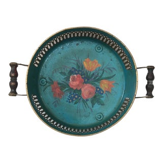 French Tole Handled Tray With Flowers Circa 1930 For Sale
