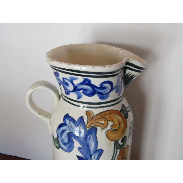 20th Century Large Terra Cotta Hand Painted Pitcher For Sale - Image 4 of 5