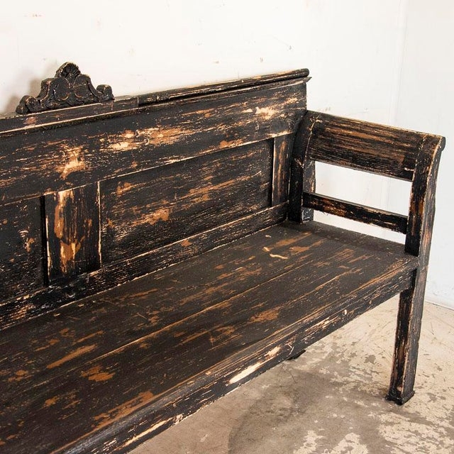 Antique Simple Black Painted Pine Bench From Hungary For Sale - Image 4 of 9