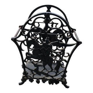 1970s Vintage Wrought Iron Equestrian Umbrella Magazine Holder For Sale