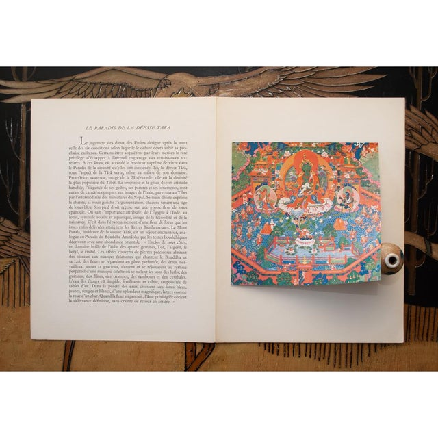 1954 the Paradise of the Tara Goddess, Original Parisian Photogravure After 18th C. Tibetan Painting For Sale - Image 4 of 9