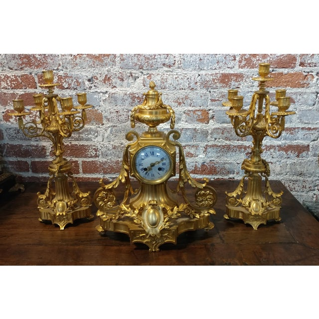19th century French Empire Clock & Candelabra set-Fabulous Bronze Dore'-c1840s For Sale - Image 10 of 10