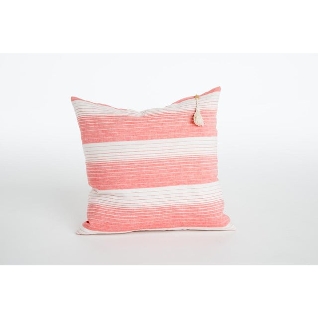 Contemporary Cortina Coral Striped Pillow For Sale - Image 3 of 3