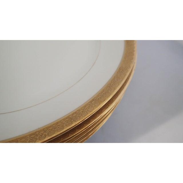 Elegant Gold Rim Dinner Plates S/5 - Image 3 of 7