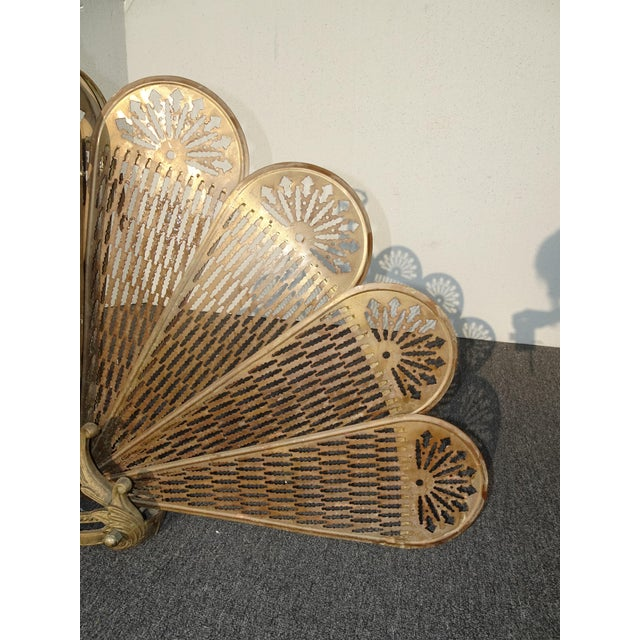 Vintage Brass Old Peacock Style Fan Fireplace Screen For Sale - Image 9 of 10