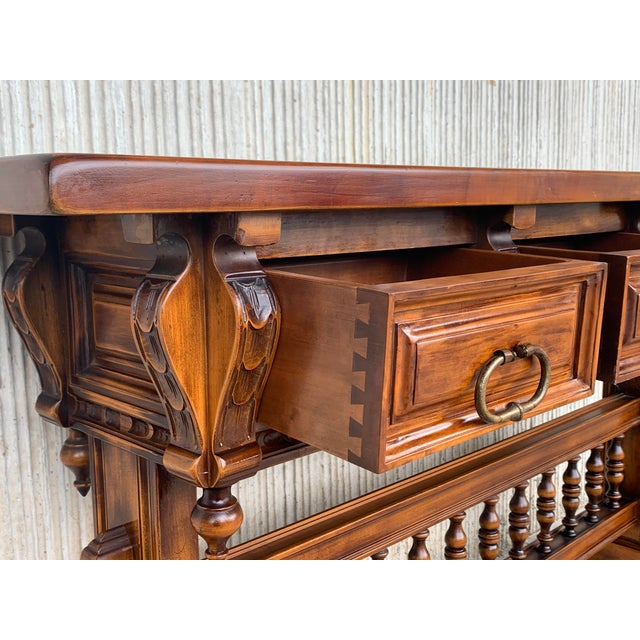 Brown Baroque Console Table in Walnut With Three Carved Drawers and Stretcher For Sale - Image 8 of 11