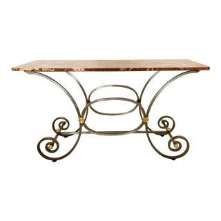 French Iron and Marble Top Console For Sale