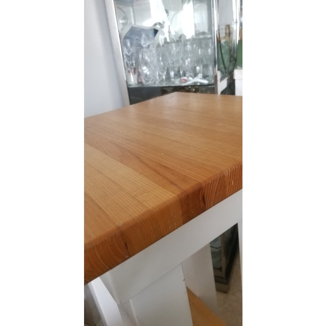 Tan Small Butcher Block Tall Bar/ Island Table For Sale - Image 8 of 9