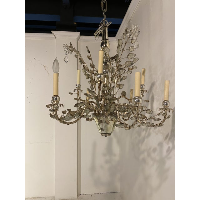 Silver 1930s French Silver Leaves Chandelier For Sale - Image 8 of 9