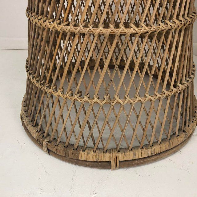 Woven Rattan Wicker Barstools - a Pair For Sale In Tampa - Image 6 of 8