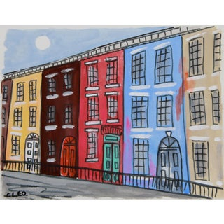 Rowhouse New York City Landscape Paintingby Cleo For Sale