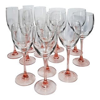 Vintage Rose Luminarc France Wine & Champagne Glasses - Set of 12 For Sale