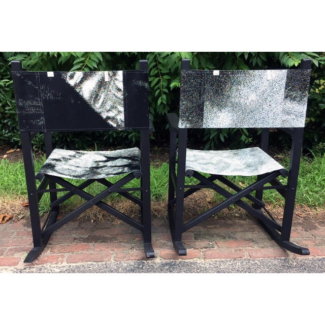 Contemporary Folding Teak Rocking Chairs - a Pair For Sale - Image 3 of 7