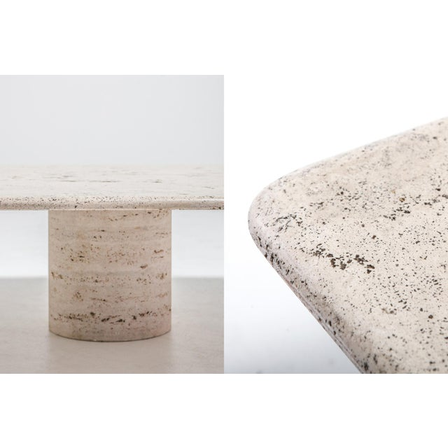 Stone Mangiarotti Square Travertine Coffee Table for Up & Up For Sale - Image 7 of 9