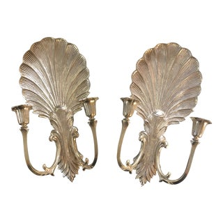 1970s Vintage Brass Shell Acanthus Sconces - A Pair For Sale