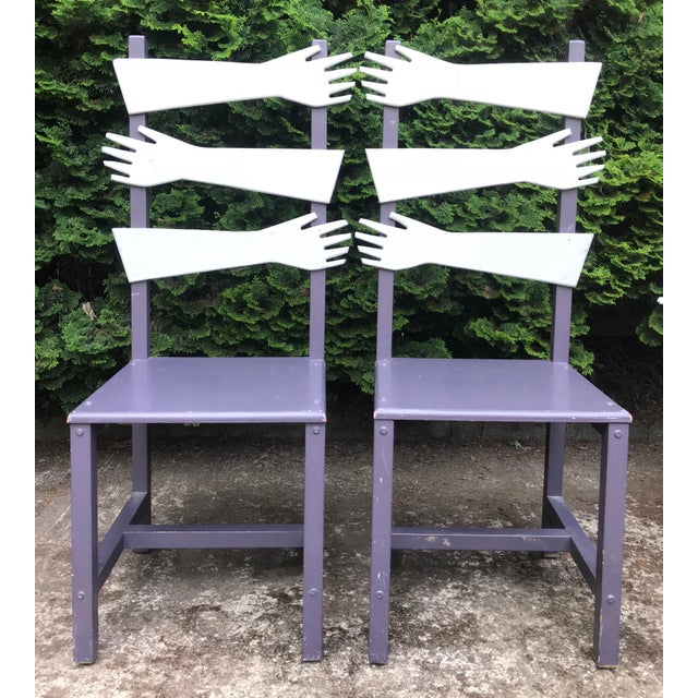 """Amazing artist made chairs featuring hand carved """"hands"""" as the back support. An undeniable conversation piece set that..."""