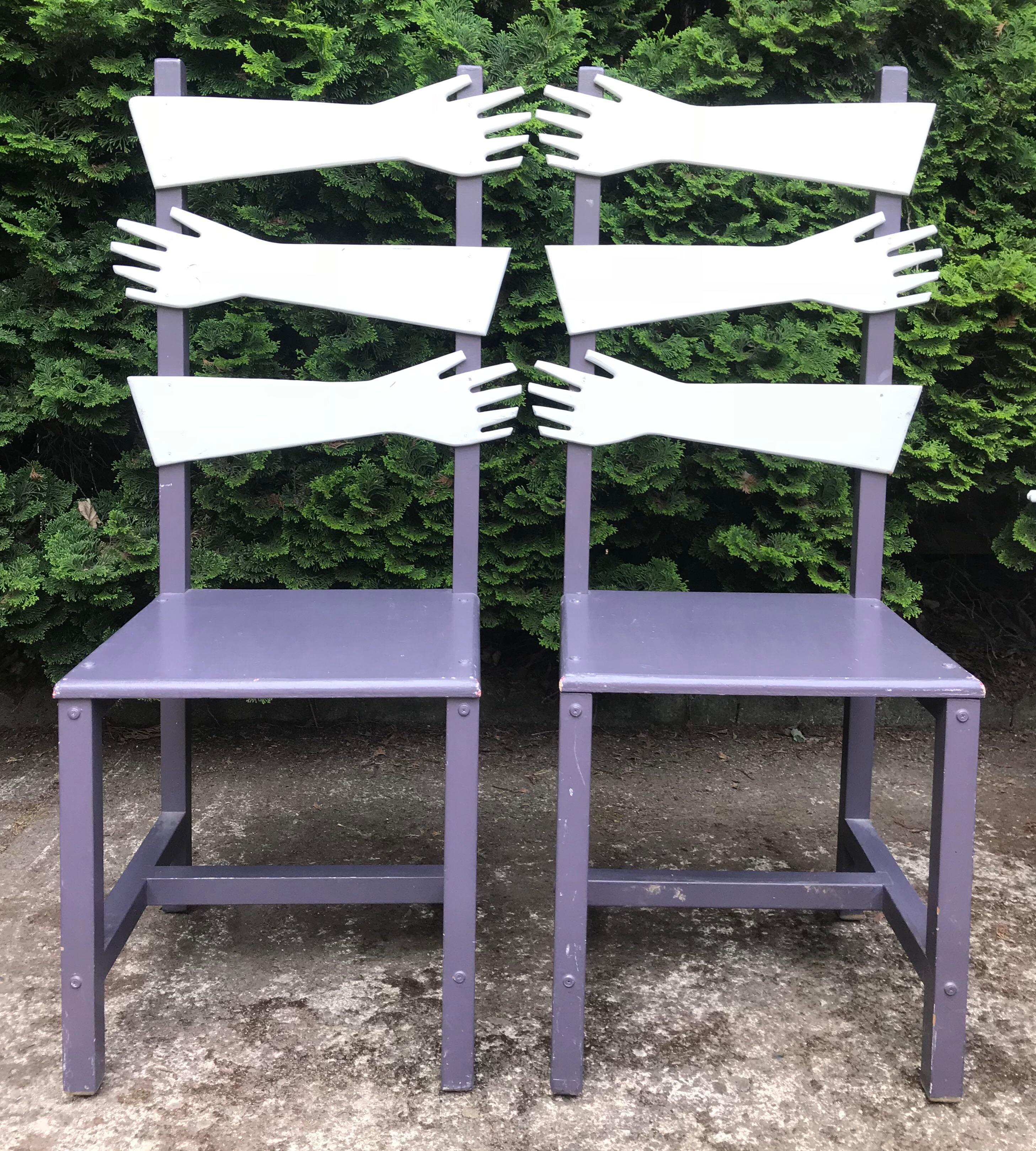 Whimsical Post Modern Artist Made U201chandu201d Chairs  A Pair   Image 2 Of