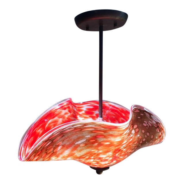 Art Glass Pendant Lamp, Red and Tan For Sale