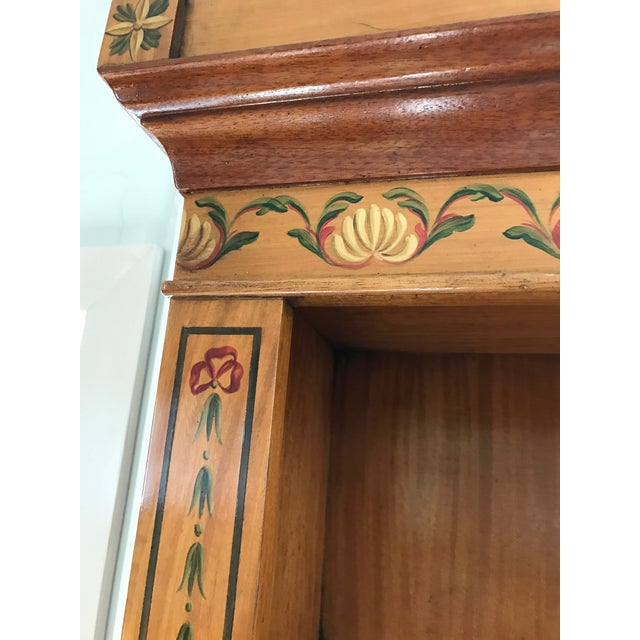 Regency-Style Satinwood Floral Bookcase - Image 4 of 10