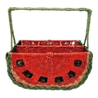 Vintage Woven Wicker Watermelon Basket For Sale