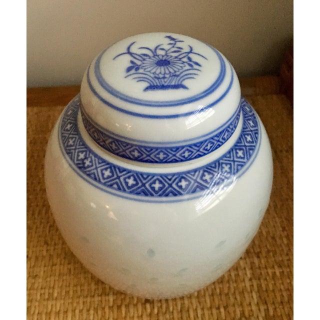 """Asian Vintage Blue & White """"Rice Flower"""" Pattern Ginger Jar For Sale - Image 3 of 8"""