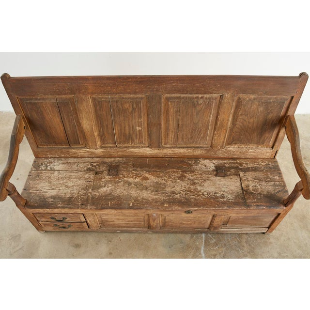 19th Century 19th Century English Georgian Oak Box Settle Bench For Sale - Image 5 of 13